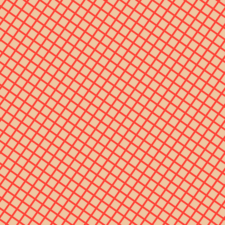 55/145 degree angle diagonal checkered chequered lines, 6 pixel lines width, 25 pixel square size, Red Orange and Negroni plaid checkered seamless tileable