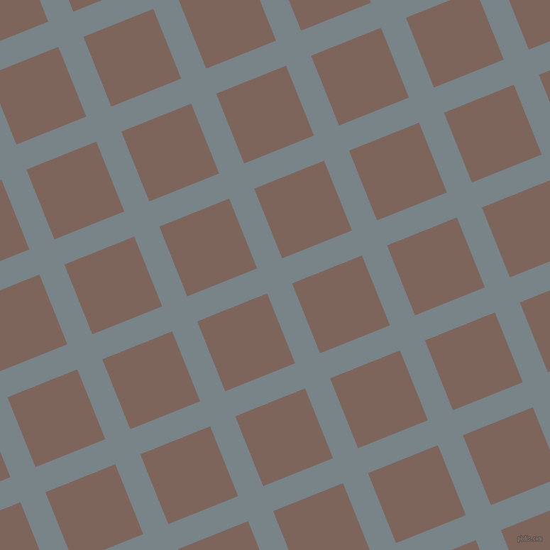 22/112 degree angle diagonal checkered chequered lines, 38 pixel lines width, 106 pixel square size, Regent Grey and Russett plaid checkered seamless tileable