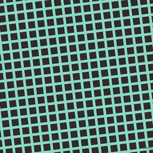 7/97 degree angle diagonal checkered chequered lines, 11 pixel line width, 29 pixel square size, Riptide and Livid Brown plaid checkered seamless tileable