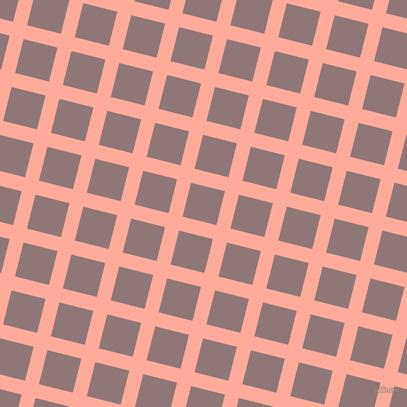 76/166 degree angle diagonal checkered chequered lines, 21 pixel lines width, 51 pixel square size, Rose Bud and Bazaar plaid checkered seamless tileable