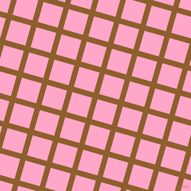 74/164 degree angle diagonal checkered chequered lines, 18 pixel line width, 68 pixel square size, Rusty Nail and Carnation Pink plaid checkered seamless tileable