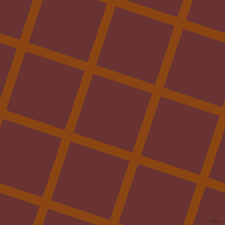 72/162 degree angle diagonal checkered chequered lines, 30 pixel lines width, 205 pixel square size, Saddle Brown and Persian Plum plaid checkered seamless tileable