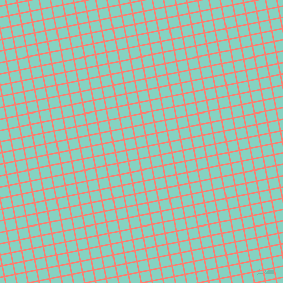 11/101 degree angle diagonal checkered chequered lines, 3 pixel lines width, 19 pixel square size, Salmon and Bermuda plaid checkered seamless tileable