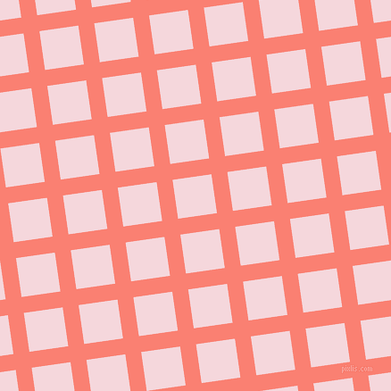 8/98 degree angle diagonal checkered chequered lines, 18 pixel lines width, 44 pixel square size, Salmon and Cherub plaid checkered seamless tileable
