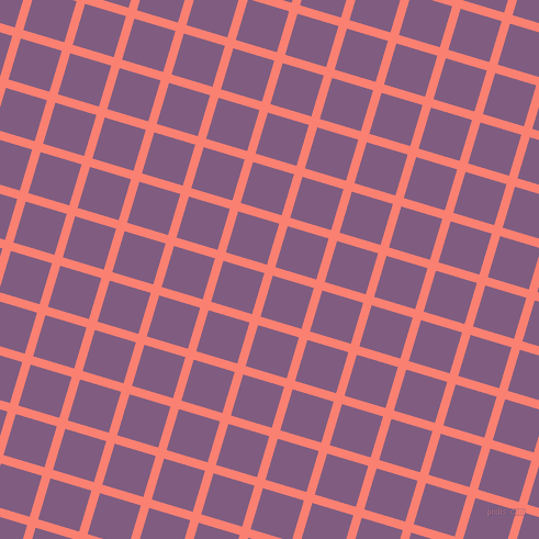 73/163 degree angle diagonal checkered chequered lines, 8 pixel line width, 39 pixel square size, Salmon and Trendy Pink plaid checkered seamless tileable