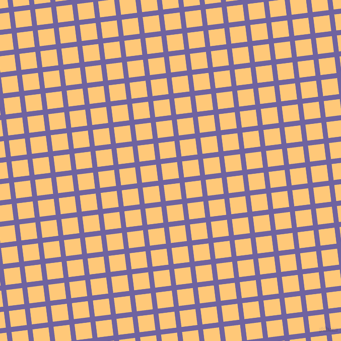 7/97 degree angle diagonal checkered chequered lines, 10 pixel lines width, 32 pixel square size, Scampi and Chardonnay plaid checkered seamless tileable