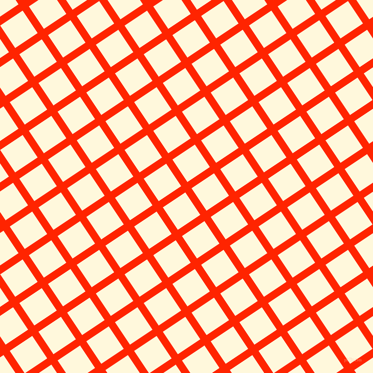 34/124 degree angle diagonal checkered chequered lines, 15 pixel line width, 54 pixel square size, Scarlet and Corn Silk plaid checkered seamless tileable