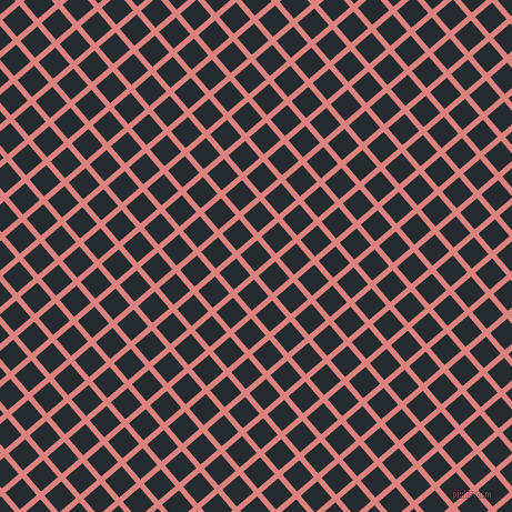 41/131 degree angle diagonal checkered chequered lines, 5 pixel lines width, 20 pixel square size, Sea Pink and Blue Charcoal plaid checkered seamless tileable