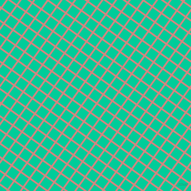 54/144 degree angle diagonal checkered chequered lines, 6 pixel lines width, 33 pixel square size, Sea Pink and Caribbean Green plaid checkered seamless tileable