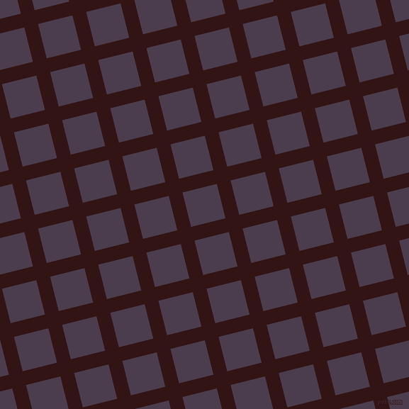 14/104 degree angle diagonal checkered chequered lines, 20 pixel line width, 50 pixel square size, Seal Brown and Bossanova plaid checkered seamless tileable