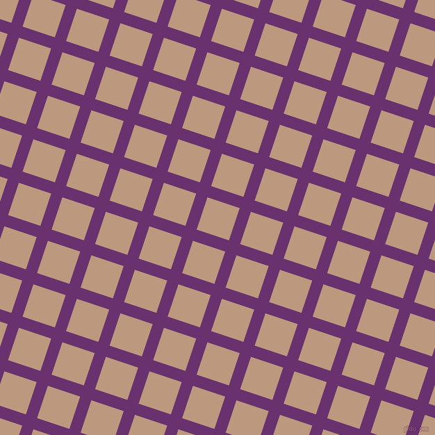 72/162 degree angle diagonal checkered chequered lines, 17 pixel line width, 49 pixel square size, Seance and Pale Taupe plaid checkered seamless tileable