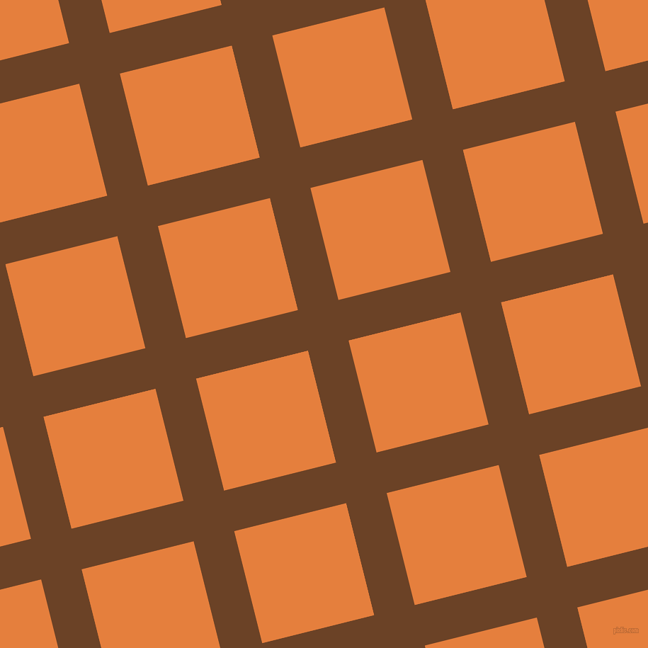 14/104 degree angle diagonal checkered chequered lines, 59 pixel line width, 163 pixel square size, Semi-Sweet Chocolate and Pizazz plaid checkered seamless tileable