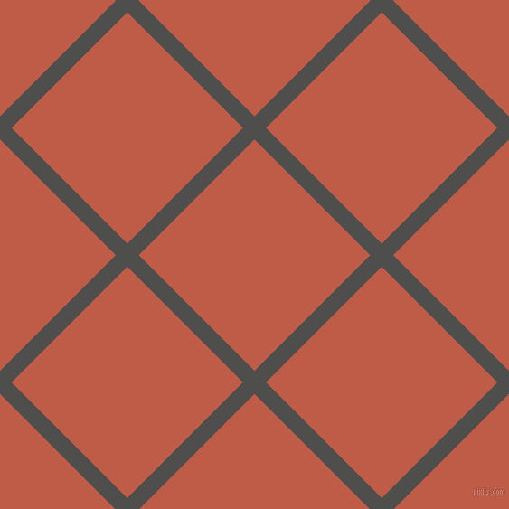 45/135 degree angle diagonal checkered chequered lines, 18 pixel line width, 181 pixel square size, Ship Grey and Flame Pea plaid checkered seamless tileable