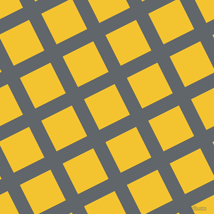 27/117 degree angle diagonal checkered chequered lines, 27 pixel line width, 68 pixel square size, Shuttle Grey and Saffron plaid checkered seamless tileable