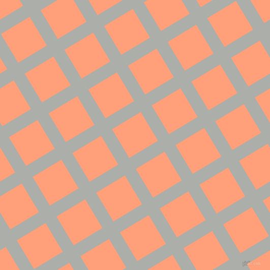 31/121 degree angle diagonal checkered chequered lines, 25 pixel lines width, 66 pixel square size, Silver Chalice and Light Salmon plaid checkered seamless tileable