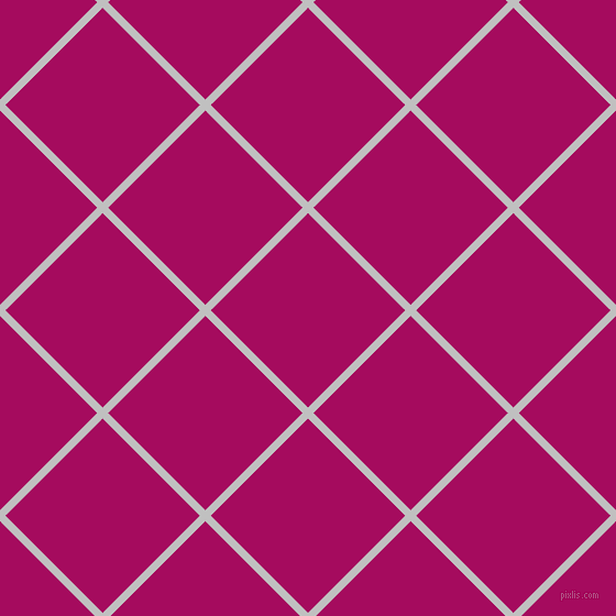45/135 degree angle diagonal checkered chequered lines, 7 pixel line width, 125 pixel square size, Silver and Jazzberry Jam plaid checkered seamless tileable