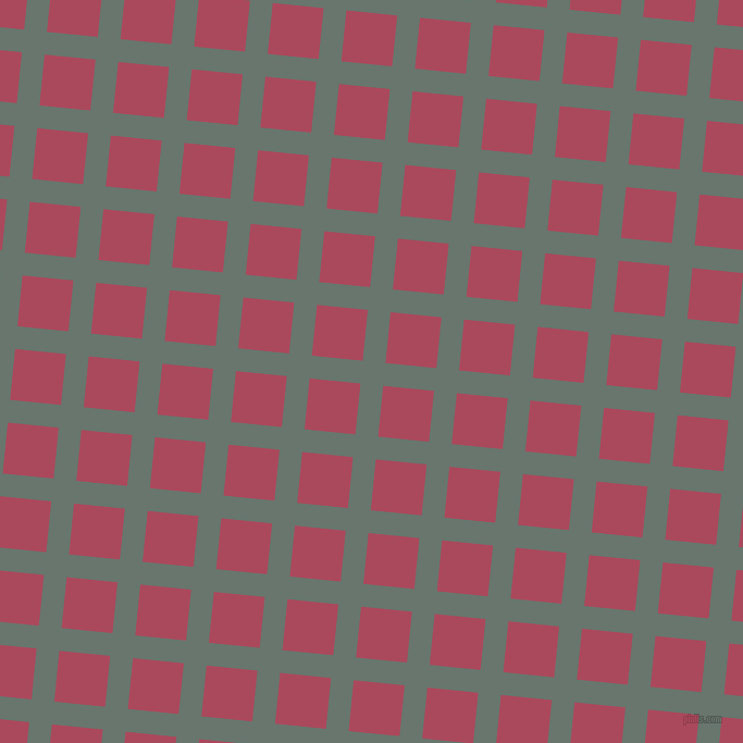 84/174 degree angle diagonal checkered chequered lines, 21 pixel line width, 47 pixel square size, Sirocco and Hippie Pink plaid checkered seamless tileable
