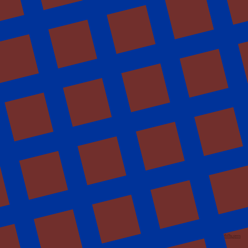 14/104 degree angle diagonal checkered chequered lines, 40 pixel line width, 81 pixel square size, Smalt and Auburn plaid checkered seamless tileable