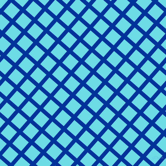 49/139 degree angle diagonal checkered chequered lines, 13 pixel lines width, 38 pixel square size, Smalt and Turquoise Blue plaid checkered seamless tileable