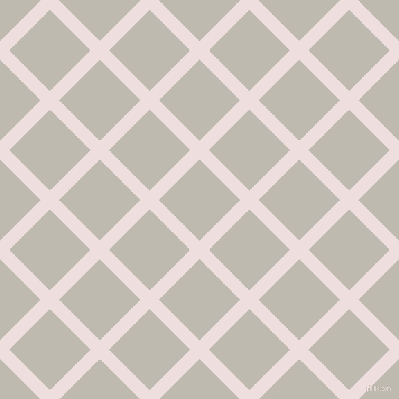 45/135 degree angle diagonal checkered chequered lines, 19 pixel line width, 83 pixel square size, Soft Peach and Cotton Seed plaid checkered seamless tileable