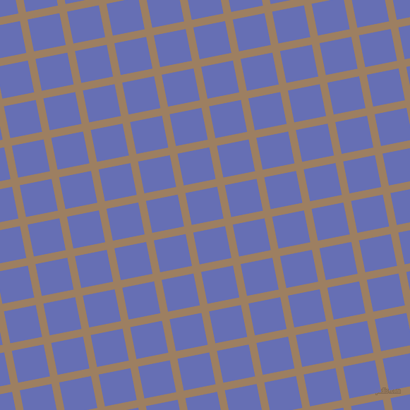 11/101 degree angle diagonal checkered chequered lines, 11 pixel lines width, 46 pixel square size, Sorrell Brown and Chetwode Blue plaid checkered seamless tileable