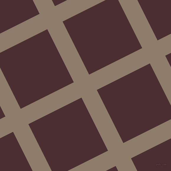 27/117 degree angle diagonal checkered chequered lines, 58 pixel line width, 201 pixel square size, Squirrel and Cab Sav plaid checkered seamless tileable