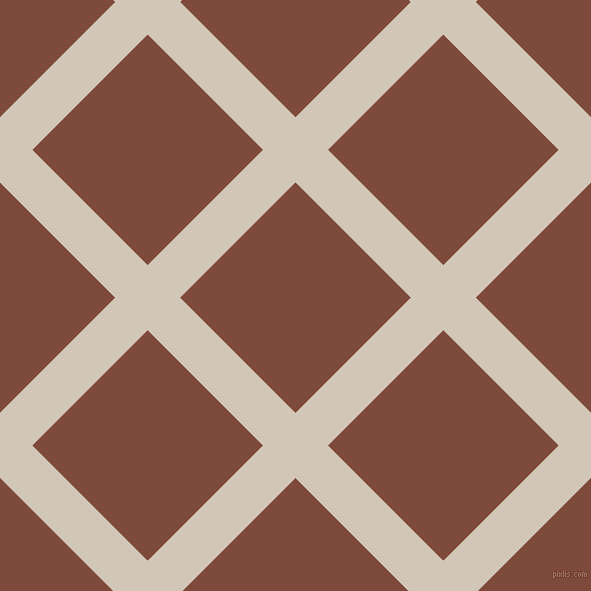 45/135 degree angle diagonal checkered chequered lines, 46 pixel line width, 163 pixel square size, Stark White and Nutmeg plaid checkered seamless tileable