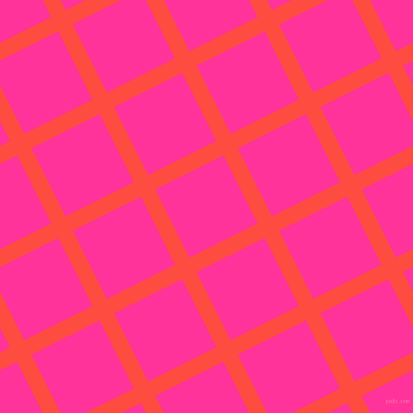 27/117 degree angle diagonal checkered chequered lines, 23 pixel lines width, 110 pixel square size, Sunset Orange and Wild Strawberry plaid checkered seamless tileable
