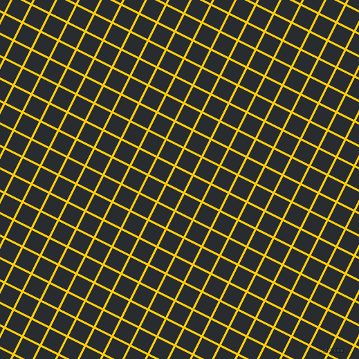 63/153 degree angle diagonal checkered chequered lines, 3 pixel line width, 26 pixel square size, Tangerine Yellow and Bunker plaid checkered seamless tileable