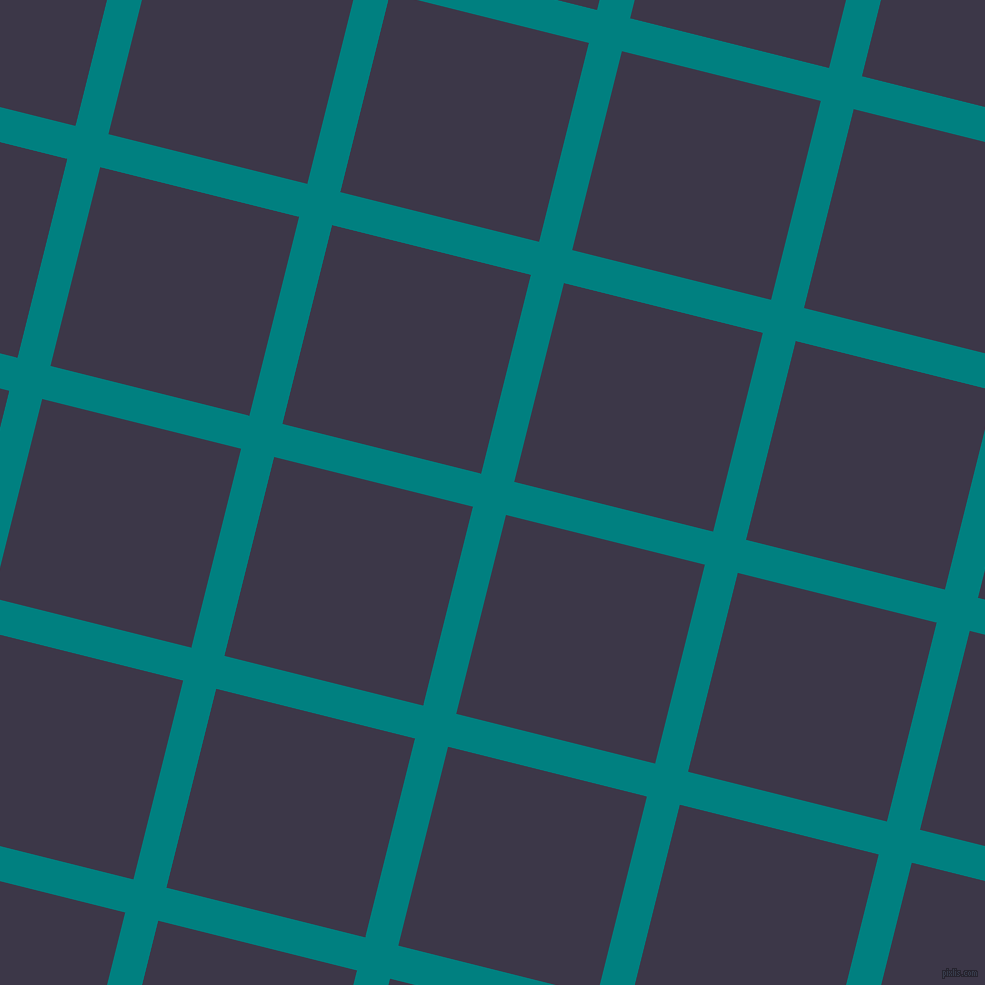 76/166 degree angle diagonal checkered chequered lines, 34 pixel lines width, 205 pixel square size, Teal and Martinique plaid checkered seamless tileable