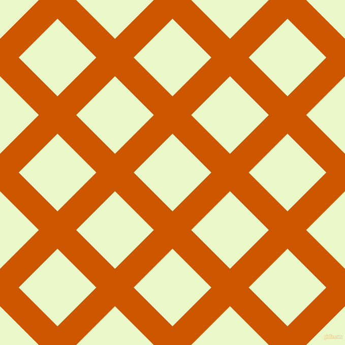 45/135 degree angle diagonal checkered chequered lines, 52 pixel line width, 108 pixel square size, Tenne Tawny and Snow Flurry plaid checkered seamless tileable