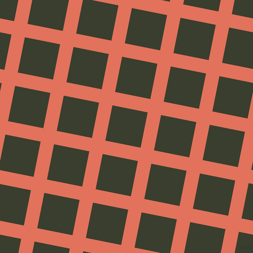 79/169 degree angle diagonal checkered chequered lines, 44 pixel lines width, 116 pixel square size, Terra Cotta and Log Cabin plaid checkered seamless tileable