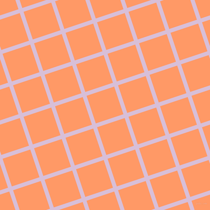 18/108 degree angle diagonal checkered chequered lines, 13 pixel lines width, 94 pixel square size, Thistle and Atomic Tangerine plaid checkered seamless tileable