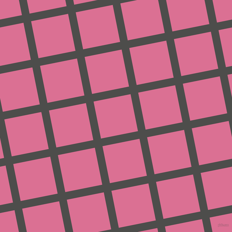 11/101 degree angle diagonal checkered chequered lines, 26 pixel line width, 126 pixel square size, Thunder and Pale Violet Red plaid checkered seamless tileable