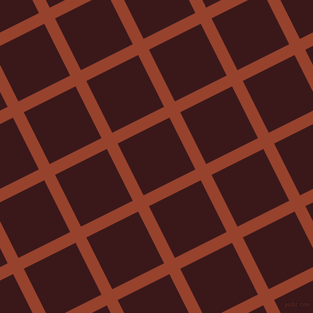 27/117 degree angle diagonal checkered chequered lines, 17 pixel line width, 82 pixel square size, Tia Maria and Rustic Red plaid checkered seamless tileable