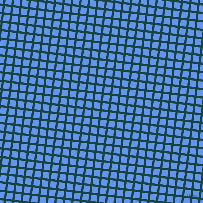 83/173 degree angle diagonal checkered chequered lines, 7 pixel lines width, 20 pixel square size, Tiber and Cornflower Blue plaid checkered seamless tileable