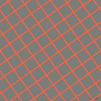 36/126 degree angle diagonal checkered chequered lines, 5 pixel line width, 44 pixel square size, Tomato and Gunsmoke plaid checkered seamless tileable