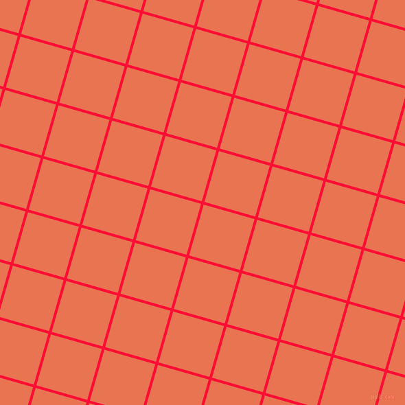 74/164 degree angle diagonal checkered chequered lines, 4 pixel lines width, 77 pixel square size, Torch Red and Burnt Sienna plaid checkered seamless tileable