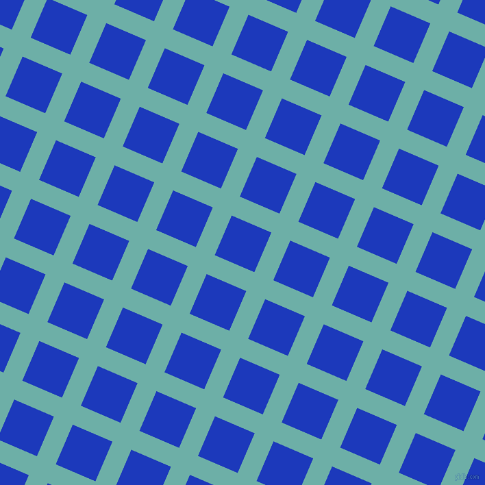 67/157 degree angle diagonal checkered chequered lines, 30 pixel line width, 63 pixel square size, Tradewind and Persian Blue plaid checkered seamless tileable