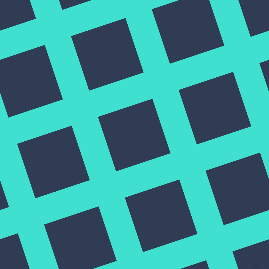 18/108 degree angle diagonal checkered chequered lines, 93 pixel line width, 193 pixel square size, Turquoise and Biscay plaid checkered seamless tileable