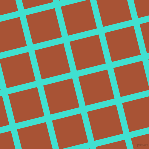 14/104 degree angle diagonal checkered chequered lines, 21 pixel line width, 100 pixel square size, Turquoise and Orange Roughy plaid checkered seamless tileable