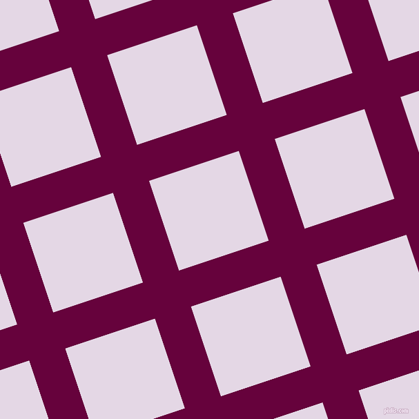18/108 degree angle diagonal checkered chequered lines, 55 pixel line width, 137 pixel square size, Tyrian Purple and Snuff plaid checkered seamless tileable