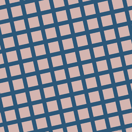 13/103 degree angle diagonal checkered chequered lines, 13 pixel lines width, 33 pixel square size, Venice Blue and Oyster Pink plaid checkered seamless tileable