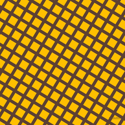 59/149 degree angle diagonal checkered chequered lines, 10 pixel lines width, 25 pixel square size, Very Dark Brown and Amber plaid checkered seamless tileable