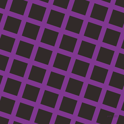 72/162 degree angle diagonal checkered chequered lines, 17 pixel lines width, 50 pixel square size, Vivid Violet and Livid Brown plaid checkered seamless tileable