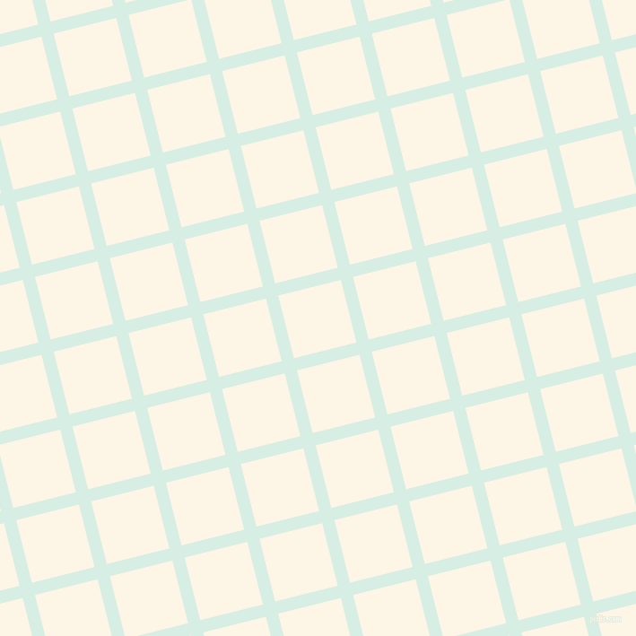 14/104 degree angle diagonal checkered chequered lines, 14 pixel line width, 72 pixel square size, White Ice and Old Lace plaid checkered seamless tileable