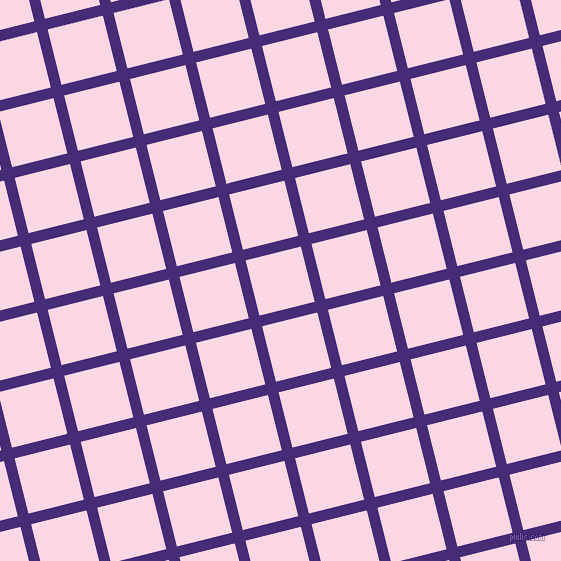 14/104 degree angle diagonal checkered chequered lines, 11 pixel line width, 57 pixel square size, Windsor and Pig Pink plaid checkered seamless tileable