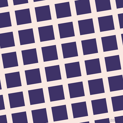 9/99 degree angle diagonal checkered chequered lines, 19 pixel lines width, 51 pixel square size, Wisp Pink and Minsk plaid checkered seamless tileable