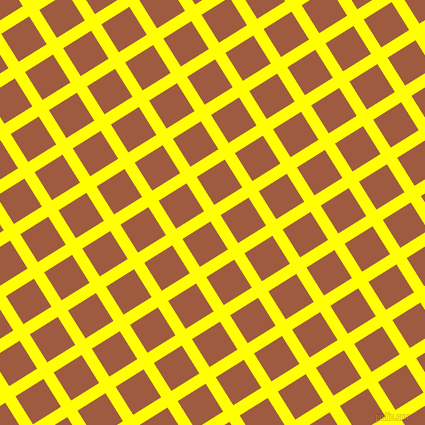 32/122 degree angle diagonal checkered chequered lines, 12 pixel lines width, 33 pixel square size, Yellow and Sepia plaid checkered seamless tileable