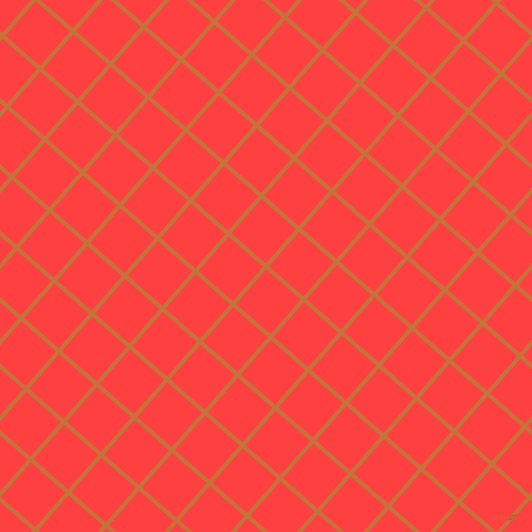 49/139 degree angle diagonal checkered chequered lines, 6 pixel lines width, 65 pixel square size, Zest and Coral Red plaid checkered seamless tileable